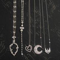 S925 Sterling Silver Double Heart shape pear cross pearl pendant star moon multi style necklaces temperament fashion design luxury jewelry Monaco Necklace