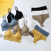 Women Sexy Crop Tops Bra Briefs Set Tube Top Seamless Sports Lingerie Thongs Panties Sleeveless Camis Bandeau Top Underwear 2021