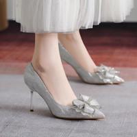 Платье Обувь HKXN 2021 Весна Высокие каблуки Женщины Насосы Свины Сэйзины STILETTO Каблуки Указанные Банкетный Большой Размер Тонкий