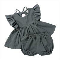 Sumos recién nacidos bebé niña ropa conjuntos de algodón de manga corta correa pantalones cortos superiores de 2 piezas moda chico ropa de hogar