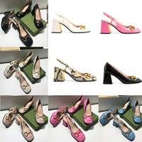 Frauen Designer Kleid Schuhe High Heels Schuhe Mid-Heel Slingback Pumpe Mit Horsebit Vintage Quadratische Zehe Mules Top Grad Leder Party Schuhe 273