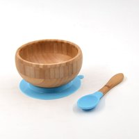 Camping Food Grade Kids Utensils Toddler Bendable Bamboo Training Safety Soft Silicone Round Baby Giant Grass Bowl Feeding Spoon Gift For Children