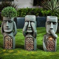 Garden Decorations See Hear Speak No Evil Easter Island Statues Creative Resin Sculpture LED Light Outdoor Decoration Figurine Vase Ornament