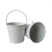 10pcs / lot d10.5xh9.5cm 미니 화분 금속 깡통 pails 흰색 / 노란색 웨딩 버킷 큐브 LG-008 y0910