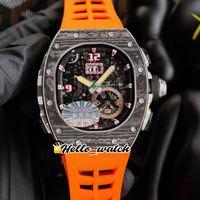 43mm RM62-01 Orologi Tourbillon Allarme Vibrazione ACJ Scheletro MIYOTA Automatic Mens orologio in fibra di carbonio Caso arancione Gomma HWRM Hello_Watch