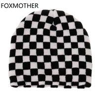 Foxmote Новая Мода Хип-хоп Зима Черный Белый Закладки Проверить Шляпа Beanie Женщины Мужской 2020 Y0911