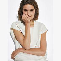 Women's Tanks & Camis Unizera Summer Two Color Versatile Fashion Hem Details Short Sleeve Cotton Simple T-shirt