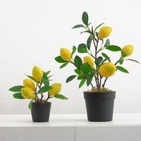 Konstgjord fruktträd simulering granatäpple bonsai hem dekoration potted växt vardagsrum prydnad falskt träd
