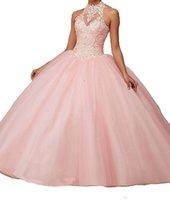 Descuento personalizado Quinceanera vestido Halter sin mangas sin espalda Una línea Larga vestidos de baile Formal Tulle Lace Red Pink Ball Balls