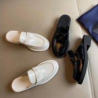 Cuir brossé de style masculin brossé mocassins à lacets plate-forme chaussures femmes de luxe de luxe Sneakers Sneakers surdimensionnés Silhouette Chunky Lugo Sole Enamel Triangle logo