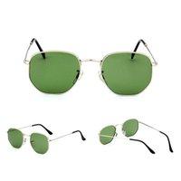 جودة عالية سداسية المرأة النظارات الشمسية 3548 عدسة الزجاج الفاخرة رجل نظارات الشمس uv حماية الرجال مصمم النظارات المعدنية المفصلي أزياء المرأة النظارات مع مربع
