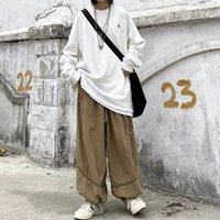 Rahat Japon Net Kırmızı Pantolon Elastik Kemer BF Yabani Gevşek Tarzı Unisex Temel Kadın Retro Bloomers Gelgit PYU9