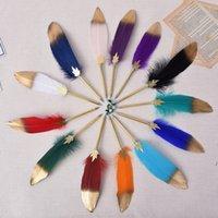 Dekorative Federstift Büro Briefpapierfarbe Natur Feder Weihnachtskugelschreiber mit Cover Festival Neues Geschenk HWA4086