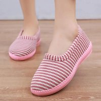 Slippers Fashion Pink Stripe Home Women Casual Warm Winter Sneakers Indoor Furry Cotton Shoes Plush Slides Woman House Slipper