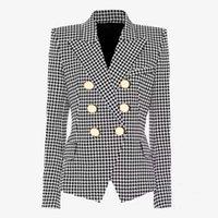 Fashion Blazers Womens Coat Famous Suits Black Houndstooth Blazer Ladies Coats Jackets Women Clothes Size S-2XL