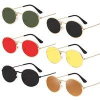 Güneş Gözlüğü Retro Klasik Vintage Yuvarlak Polarize Erkekler Marka Tasarımcısı Güneş Gözlükleri Kadınlar Metal Çerçeve Siyah Lens Gözlük Sürüş