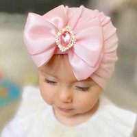 Beanie Effects Color Big bow street hat For borns Tulip band Baby girls headwrap toddler Satines Strike with Diamond Stone 0917