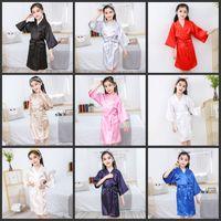 Bambini Satin Rayon Solid Kimono Robe Accappatoio per bambini Nightgown per Spa Party Wety Birthday 70 Y2