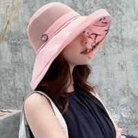 Летняя цветочная пляжная шляпа для женщин складки против УФ-солнца Шляпы Sun Hats дышащая сетка ведра леди широкая красная женщина солнцезащитный крем X0707