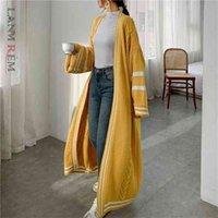 LANMREM Automne Cardigan de style longue pour femmes en vrac patchwork décontracté manteau de pull tricoté décontracté PC425 210907