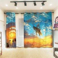 Cortinas cortinas ballenas jorobadas nadando entre las nubes con los peces voladores Cortinas de la sala de hogar en 3D El para la oficina de vida