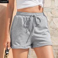 Pantalones cortos de mujer isarosa enrollar el dobladillo de verano de las mujeres del verano de las mujeres de las mujeres de la cintura elástica casual de la cintura del color sólido de la ropa deportiva con el bolsillo más tamaño
