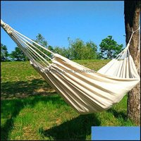 Camp And Sports & Outdoorscamp Furniture 200X150Cm Double Hammock Outdoor Rollover Prevention Cam Canvas Hanging Swing Bed For Patio Travel