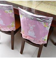 Новейший домашний пасхальный стул чехлы 48 * 48см ткань кролика розовый синий кухонный стул крышка счастливая пасхальная вечеринка домашнее украшение стула ZC043