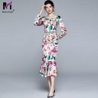 2021 Neue Merchall Herbst Mode Runway Langarm Damen Elegante Rüschen Print Midi Mermaid Party Bodycon Es IU0E