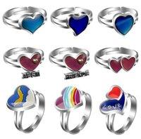 heart-shape mood ring change color ring mix design