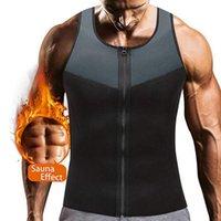 Men's Body Shapers 1Days Ship Men Fashion Fitness Gym Neoprene Sauna Vest Sweaty Waist Trainer Shaper Slimming Suit Weight Loss Zipper
