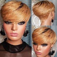 OMBRE T1B / 27 Человеческие волосы короткие парики для черных женщин прямые Боб Пикси мед блондинка бразильский без кружева передний парик с взрывом