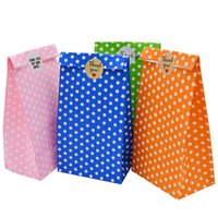 Gift Wrap 5pcs Bag Colorful Dots Gifts Packing Box Treat Bread Candy Cookies Bags Kraft Paper Birthday Party Baking Supplies