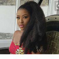 8A AFRO Kinky Кудрявые хвостические расширения для женщин натуральные черные Remy человеческие волосы 1 шт. 160G клип в хвостиках Удлинитель 100% человеческие волосы