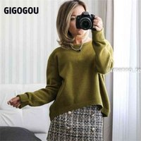 GIGOGOU Loose Oversized Women Sweater O Neck Cashmere Knitted Pullovers Top Autumn Winter Jumpers Euro Casual Twist Warm 210914