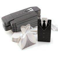 10pcs / lots 신부와 신랑 드레스 웨딩 캔디 상자 선물 가방 부탁 상자 결혼식 Bonbonniere DIY 이벤트 파티 호의 장식
