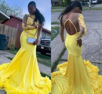 Yellow Mermaid Prom Dresses Sexy Formal Party Gown Evening Further Pageant Dress African Long Sleeve Appliqued Sexy Backless