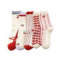 Socks & Hosiery Striped Cotton Red Short Women Lattice Casual Cherry Fruit Middle Tube Sock Ladies Fashion Female Cartoon Girls Square Sox