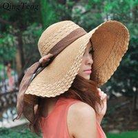 Новые Широкие Breim Летние Шляпы для Женщин Отдых Досуг Пляж Шляпа Лента Луч Солнцезащитный Солнечный Шляп Панама Женщина Солнечные колпачки 210311