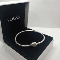 925 pulseira de prata esterlina para mulheres caber beads pântulas encantos pulseiras pulseiras de coração clássico fivela fivela logotipo design senhora presente com caixa
