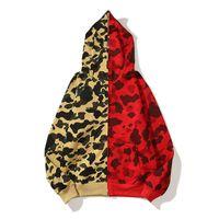 Mans Hoodie Shark Jaw Camo Cámara Completa Cremallera Amarillo Sudadera Roja Abrigo Jacket Jacket