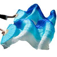 Новые поступления стадии производительности танец вентилятор 100% шелковая вуаль цветные женские животные танцевальные фанаты Royal Blue + бирюзовая + белая полоса (2 шт.)
