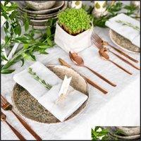 Textiles Home & Garden12 Pcs White Cotton Fabric Napkin Table Dinner Napkins For Wedding Party Drop Delivery 2021 4K9Ta