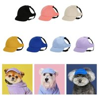Pet Dog Hats Cat Summer Canvas Cap Outdoor Baseball With Ear Holes For Small Sunscreen Accessories Hiking Sports 210824