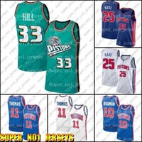 DetroitPistonJersey Dennis 10 Rodman Jersey Isiah 11 Thomas Formalar Derrick 25 Basketbol Gül Jersey Grant 33 Hill Formaları ZX65A