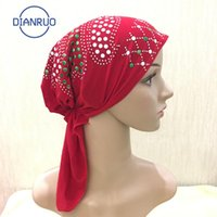 Bufandas Dianruo Colorido Rhinestone Musulmanes Africano Mujeres Musulmán Turbante Algodón Moda Moda CHEMO Pérdida de cabello Bufanda Wrap Hijib Cap N407