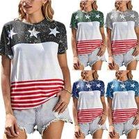 S-2XL 2021 Летние женские футболки дизайнеры США Флаг Печать футболки Tiktok Свободные повседневные Спорт с коротким рукавом Пот-рубашка полосатая звезда негабаритные TEE топы ткани G69SUO5