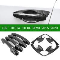 Fibra de carbono preto carro lateral porta cabo copo copo guarnições para TOYOTA HILUX REVO 2016 2017 2019 2019 2020