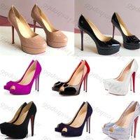2021 جديد كلاسيكي الأحمر أسفل عالية الكعب منصة مضخات الأحذية عارية / أسود براءات الاختراع الجلود زقزقة تو النساء اللباس الزفاف الصنادل الأحذية حجم 34-45