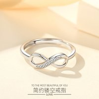 Hearts Chrome S925 Sterling Silver Fashion Jewelry Ring 8-character Adjustable Platinum Plated